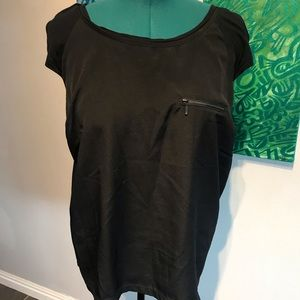 Tops - Black shell top with zipper accent